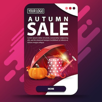 Autumn sale with garden watering can, umbrella and ripe pumpkin banner