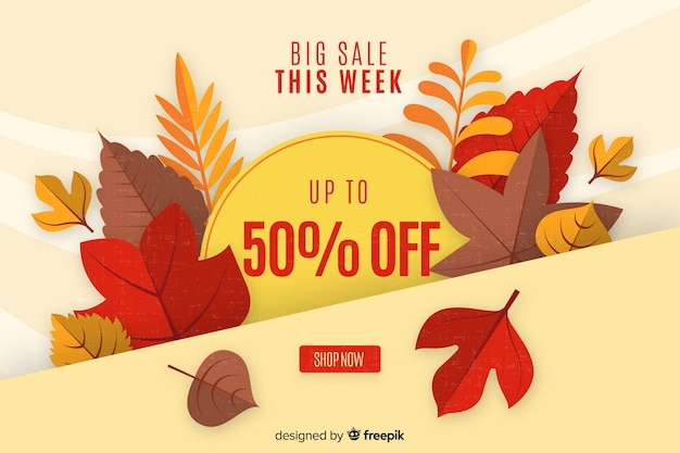 Autumn sales background flat design