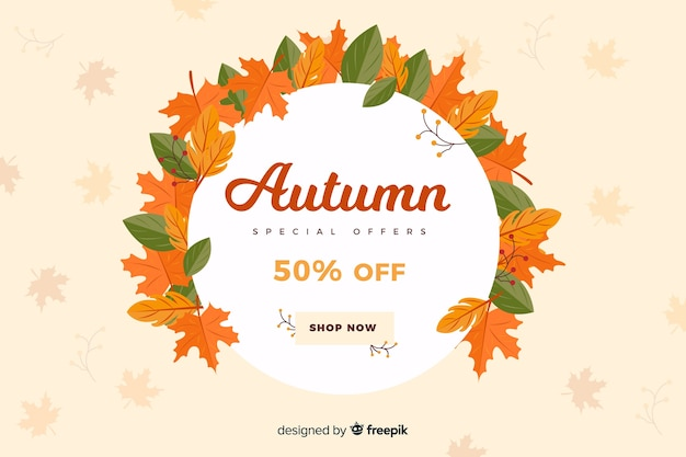 Autumn sales background in flat style