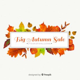 Autumn sales background watercolor design