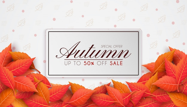 Осенние продажи баннеров с красочными сезонными осенними листьями. и концепция осенней рекламы. и используется в качестве иллюстрации или фона.