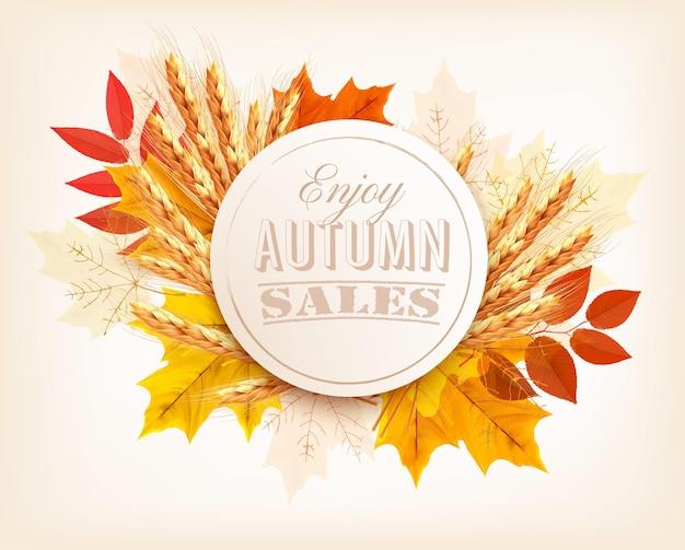 Осенний баннер продаж с красочными листьями и пшеницей. вектор.