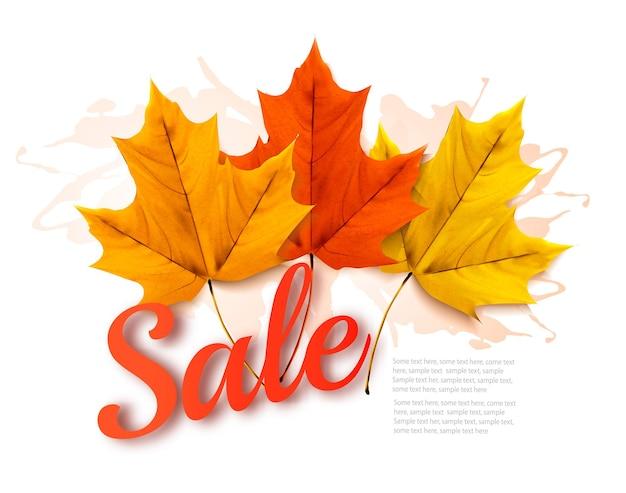 Осенний баннер продаж с красочными листьями. вектор.