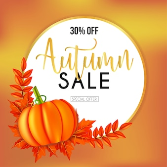 Autumn sales banners with pumpkin and round frame leaves