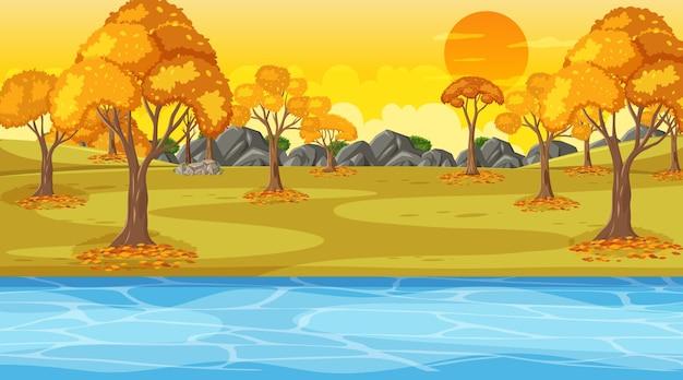 川沿いの秋の森と日没時の秋のシーン