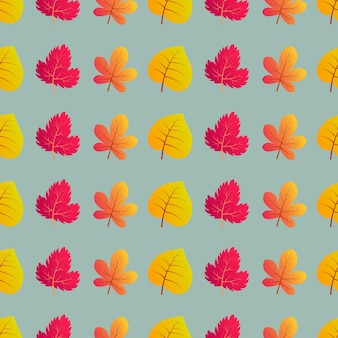 カラフルな葉と秋のシームレスな背景。秋のポスター、包装紙、休日の装飾のためのデザイン。ベクトルイラスト
