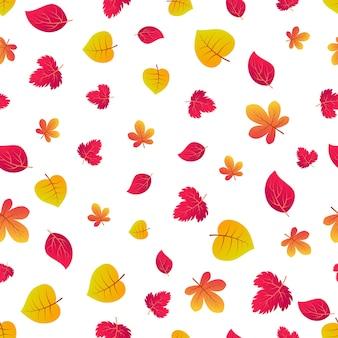 Осенний бесшовный фон с красочными листьями. дизайн плакатов осеннего сезона, оберточной бумаги и праздничных украшений. векторная иллюстрация