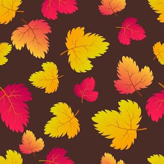 カエデ色の葉と秋のシームレスな背景。秋のポスター、包装紙、ホリデーデコレーションのデザイン。ベクトルイラスト