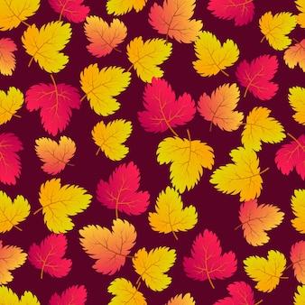 カエデ色の葉と秋のシームレスな背景。秋のポスター、包装紙、休日の装飾のためのデザイン。ベクトルイラスト