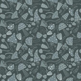 Осенний фон с грибами на темно-сером фоне. скандинавский стиль. идеально подходит для ткани, оберточной бумаги, сезонных украшений. векторная иллюстрация