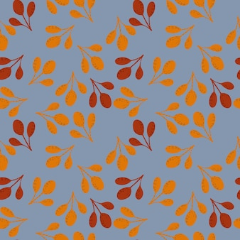 Autumn seamless doodle patern with orange and maroon colored fall branches. random ornament on blue background. stock illustration.