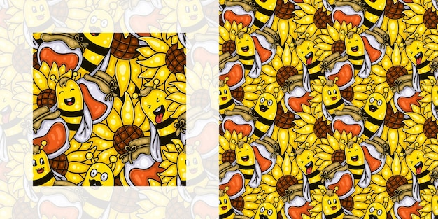 Autumn seamless doodle pattern of bees with sunflowers and honey pots