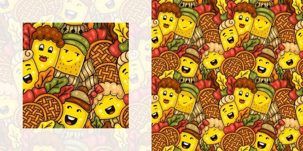 Осенний узор бесшовные каракули детей и родителей с яблочными пирогами