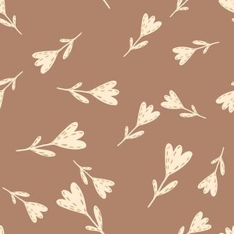 チューリップのシンプルなシルエットと秋のシームレスな落書きパターン。茶色の背景にベージュの花。季節のテキスタイルプリント、ファブリック、バナー、背景、壁紙のベクトルイラスト。