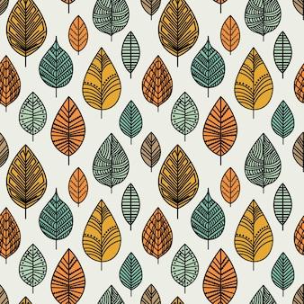 秋のシームレスな葉のパターン。葉とシームレスな装飾的なテンプレートテクスチャ