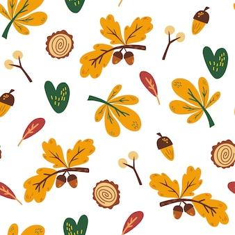 가 완벽 한 패턴입니다. 도토리, 잎, 나뭇가지 및 열매. 벽지, 선물 용지, 템플릿 채우기, 웹 페이지 배경, 가을 인사말 카드에 적합합니다. 손으로 그린 벡터 일러스트 레이 션.
