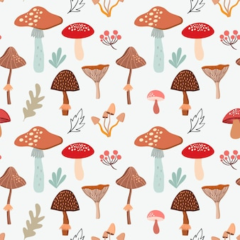 Autumn seamless pattern background wallpaper with seasonal design leaves mushrooms and plants