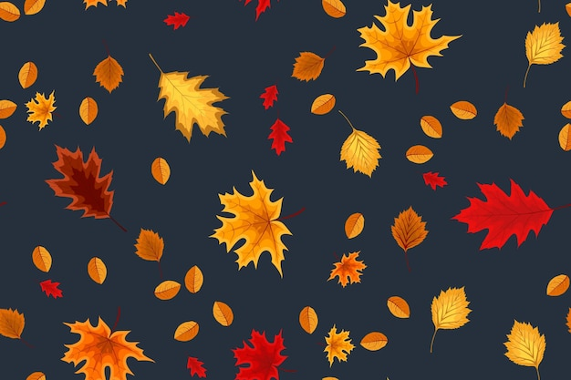 Autumn seamless pattern background with falling leaves. vector illustration
