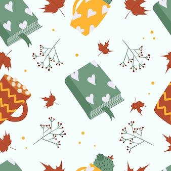 Autumn seamless pattern. of books, cappuccino, cactus.
