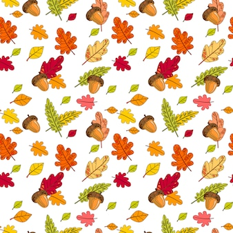 Autumn seamless pattern colorful leaves ornament fall season