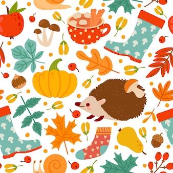 가 완벽 한 패턴입니다. 호박, 견과류, 식물 그리기. 추상 수확 시간, 추수 감사절 인쇄 용지 또는 섬유 벡터 질감. 그림 원활한 끝없는, 스웨터와 고무 장화