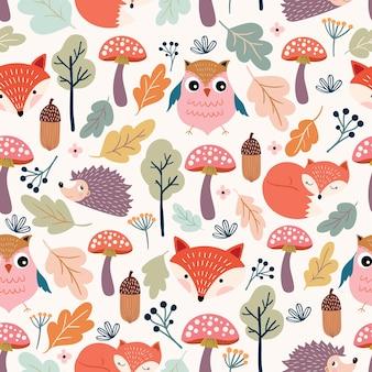 Autumn seamless pattern in hand drawn