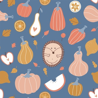 Autumn seamless pattern hygge pumpkin fruits leaves and pumpkins with cute hedgehog abstract harvest...