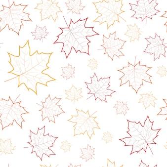 Autumn seamless pattern maple leaves ornament fall season