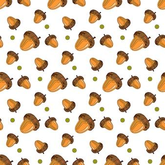 Autumn seamless pattern oak acorns ornament fall season