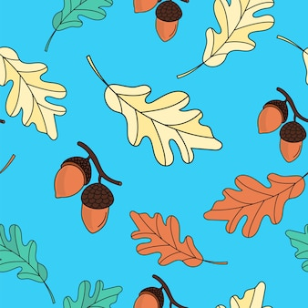 Autumn seamless pattern oak leaves color vector illustration for birthday and party, card