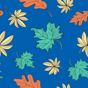 Autumn seamless pattern oak and maple color vector illustration for birthday and party, sc