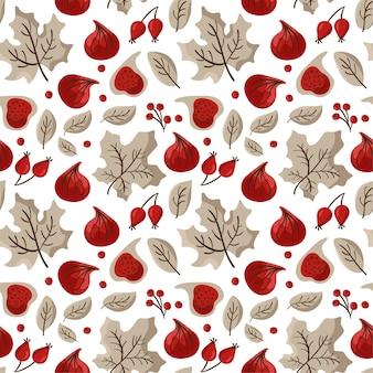 イチジク、ベリー、カエデの葉の秋のシームレスなパターン。