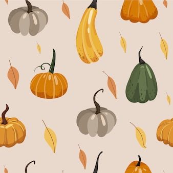 Autumn seamless pattern various pumpkins and leaves