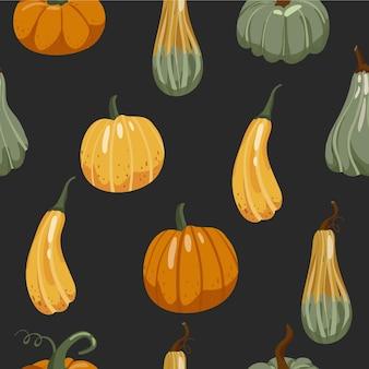 Autumn seamless pattern various pumpkins