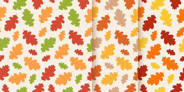 秋のシームレスパターン。ベクター。紅葉の背景。