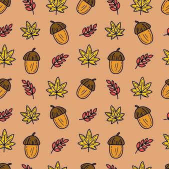 秋のシームレスなパターンベクトルの背景