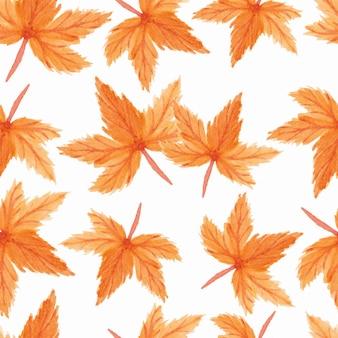 秋のシームレスパターンの水彩イラスト