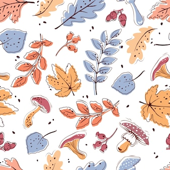 Autumn seamless pattern on a white background. leaves, mushrooms, acorns, berries.