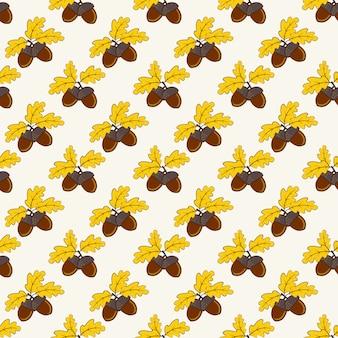 Autumn seamless pattern with acorns