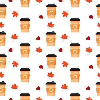白い背景の上の秋のコーヒーと秋のシームレスなパターンパンプキンスパイスラテコーヒーカップve