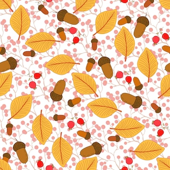 Autumn seamless pattern with autumn leaves and acorns. seasonal vector background. can be used for wrapping, textile, decorations