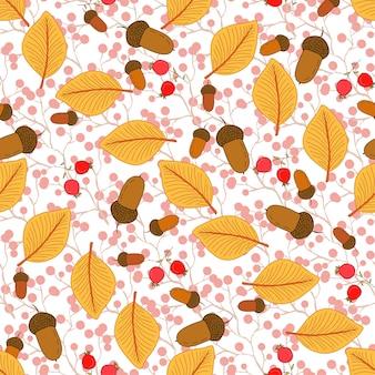 秋の葉とドングリの秋のシームレスなパターン。季節のベクトルの背景。ラッピング、テキスタイル、デコレーションに使用できます