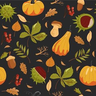 Autumn seamless pattern with autumn theme.