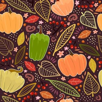 Осенний фон с листьями тыквы мультфильм