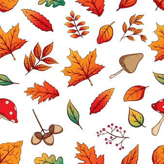 Autumn seamless pattern with colorful autumn leaves on white background