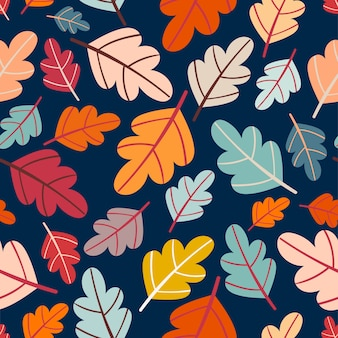 Autumn seamless pattern with colorful leaves