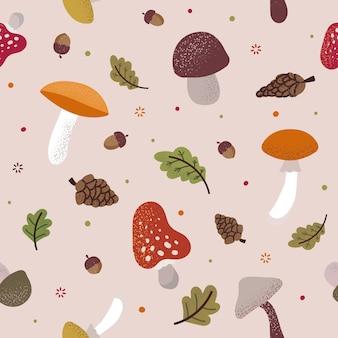 かわいいキノコ、ドングリ、コーン、葉と秋のシームレスなパターン。布や包装紙の手描きプリント。秋のシーズンの自然の要素を持つ繰り返しテクスチャ。