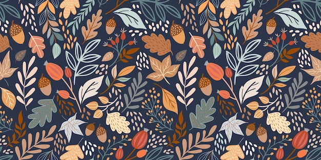 Autumn seamless pattern with different leaves and plants