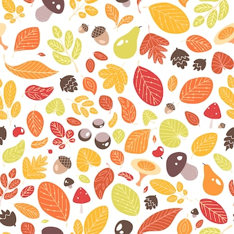 Autumn seamless pattern with fallen leaves or dried foliage, acorns, fruits, nuts and mushrooms on white