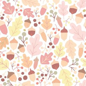 Autumn seamless pattern with fallen oak leaves, acorns, berries on white